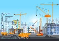 City skyline buildings construction under construction with tower cranes. Building work process with houses and royalty free illustration