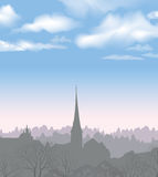 City skyline. Buildings silhouette cityscape. Old city street in Royalty Free Stock Image