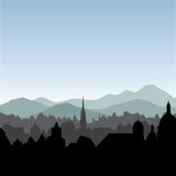 City skyline. Buildings silhouette cityscape. Old city street in Stock Images