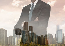 City Skyline Businessman Double Exposure Royalty Free Stock Images