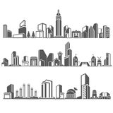 City skyline. Cities silhouette set, building in downtown skyline set Royalty Free Stock Images