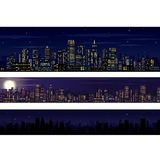 City Skyline. Collection of Night Skyline Stock Photo