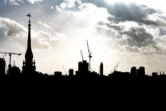 City Skyline with Cranes and tower blocks Royalty Free Stock Image