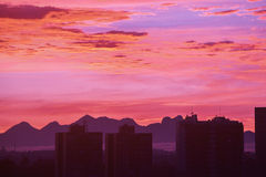 City skyline of Curitiba Paraná during sunset Royalty Free Stock Photography