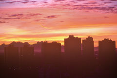 City skyline of Curitiba Paraná during sunset Stock Photo