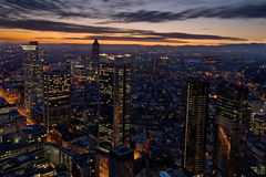 City Skyline at dawn. An aerial shot of the finance center of Frankfurt, Germany royalty free stock photos