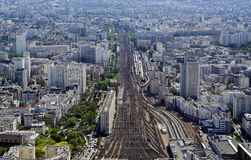 The city skyline at daytime. Paris, France. Taken from the tour Montparnasse Royalty Free Stock Images