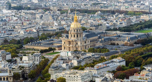 The city skyline at daytime. Paris, France. Panoramic view on roof of houses Stock Photography