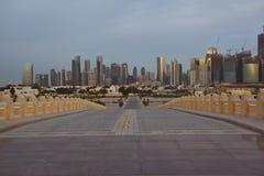 Doha new city night skyline royalty free stock photos