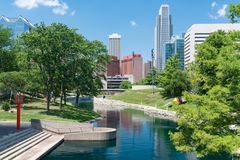 City Skyline in Downtown Omaha, Nebraska. Along the Gene Leahy Mall royalty free stock photography