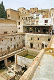 City skyline, drying hides and dye pots at one of the tanneries Stock Photography