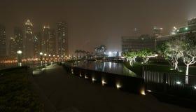 City skyline from Dubai Mall near Burj Khalifa by night Royalty Free Stock Image