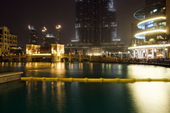City skyline from Dubai Mall near Burj Khalifa by night Stock Images