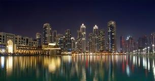 City skyline from Dubai Mall near Burj Khalifa by night Royalty Free Stock Photography