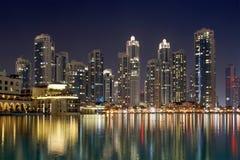 City skyline from Dubai Mall near Burj Khalifa by night Royalty Free Stock Photos