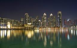 City skyline from Dubai Mall near Burj Khalifa by night Stock Image