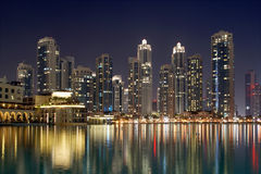 City skyline from Dubai Mall near Burj Khalifa by night. United Arab Emirates Stock Photos