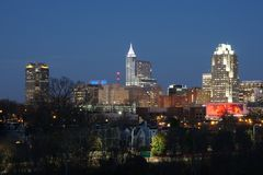 City Skyline at Dusk - Raleigh, North Carolina royalty free stock photography