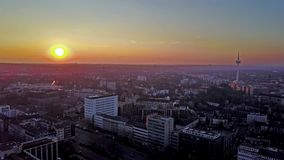 The city skyline of Essen during sunset, aerial - Germany stock video