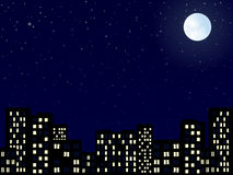 City skyline at evening Stock Image