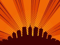 City skyline in flat design style, illustration of urban downtown streets. City skyline in comic book style, illustration of urban downtown skyscrapers, vector stock illustration