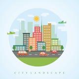 City skyline flat vector background. City skyline vector illustration in flat trendy design Royalty Free Stock Image