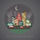 City skyline flat vector background. City skyline vector illustration in flat trendy design Stock Photo