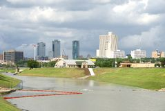 City Skyline Fort Worth, Texas. Skyline of Downtown Fort Worth Texas taken from Trinity River Royalty Free Stock Photography