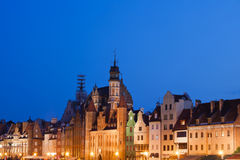 City Skyline of Gdansk at Night Stock Photo