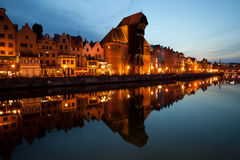 City Skyline of Gdansk Old Town at Dusk Royalty Free Stock Images