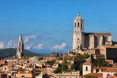 City Skyline of Girona in Spain. City of Girona in Spain, Old Town skyline with Cathedral and Basilica of Sant Feliu Stock Photography
