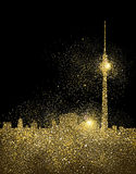 City skyline gold glitter art concept illustration royalty free illustration