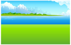 City Skyline with Green landscape Stock Images