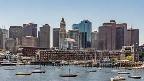 City Skyline From Harbor, Boston Massachusetts royalty free stock photos