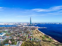 City skyline high-rise building blue sky of the Gulf of Finland photos from a height. City skyline high-rise building  of the Gulf of Finland photos from a Royalty Free Stock Images