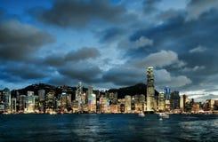 Skyline of Hong Kong at sunset Stock Image