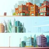 City Skyline 3 Horizontal Banners Set Royalty Free Stock Photos