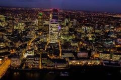 City skyline illuminated at night