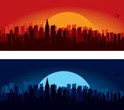 City skyline illustrations. Two illustrated city skylines at sunset or sunrise and at night Stock Images