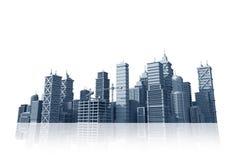 City Skyline Isolated on White Stock Images