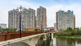 City skyline and Jiulong River stock footage
