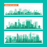 City skyline kit with factories, refineries, power Stock Image