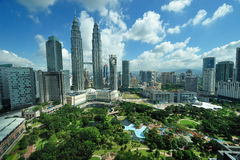 City skyline of Kuala Lumpur, Malaysia. Petronas Twin Towers. Royalty Free Stock Photo