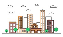 City skyline landscape design concept with buildings, scyscrapers, donut shop cafe,clouds,trees. Vector, graphic illustration. Editable stroke. Colourful stock illustration