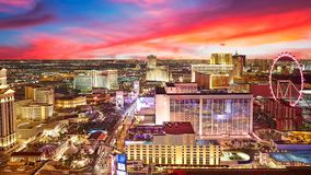 Las Vegas skyline. Night scene cityscape of Las Vegas, City panorama