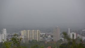 City skyline leonberg during rain foggy day stock image