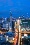 City skyline lights night view. Blurred bokeh city skyline lights night view Stock Image