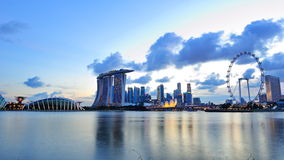 City skyline of Marina Bay Singapore. With landmarks such as Gardens by the Bay, Marina Bay Sands Integrated Resort, banks, art science museum and Singapore Royalty Free Stock Photos