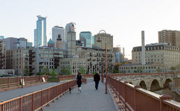 City Skyline of Minneapolis from Stone Arch Bridge Stock Images