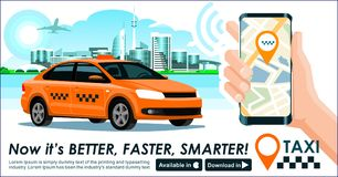 Taxi app banner. City skyline modern buildings hi-tech & taxi cab also smartphone gps map in hand. Concept template of taxi call s Royalty Free Stock Images